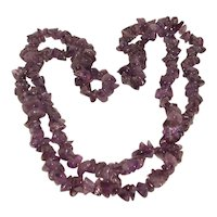 Natural Amethyst Rope Necklace 36 inches