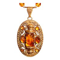 Art Deco Czech Necklace Topaz Amber Glass Medallion