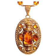 Art Deco Czech Necklace Topaz Amber Glass Medallion