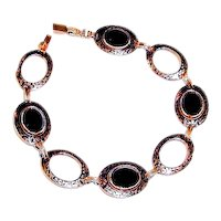 Art Deco Black Onyx Bracelet Enamel Links