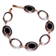 Art Deco Bracelet Black Onyx Enamel Links
