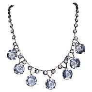 Fabulous Open Back Blue Crystal Necklace Signed Germany