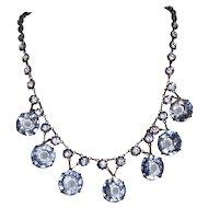 Art Deco Necklace Blue Crystals Wedding