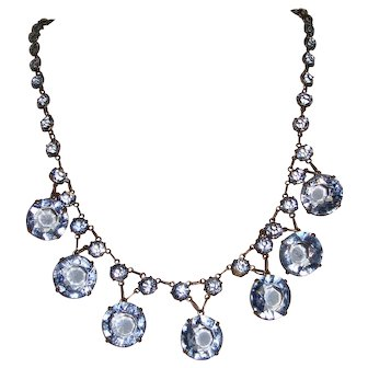 Blue Art Deco Necklace Open Back Crystals Wedding