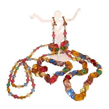 Rare Czech Pastel Necklace Bracelet Earrings Demi Parure