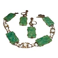 Art Deco Green Peking Glass Rock Crystal Bracelet Earrings Pendant