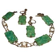 Art Deco Bracelet Earrings Set Green Peking Glass and Rock Crystals