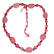 Pink Art Glass Pink Crystal Choker Necklace
