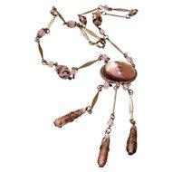 Art Nouveau Czech Necklace Purple Foil Glass