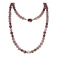 Estate Purple Gemstone Necklace 925 Clasp