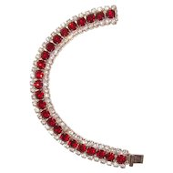 Red Art Deco Bracelet Clear Crystals