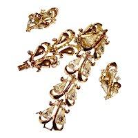 Coro Rhinestone Bracelet Earrings Set Wedding