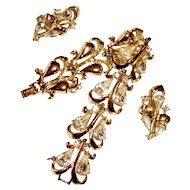 1950 Bracelet Earrings Set Rhinestones