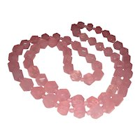 Estate Rose Quartz Necklace Faceted Beads