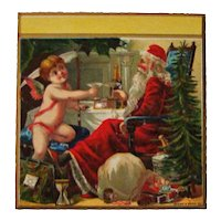 Unusual Christmas Scene Santa Cherub Celebration