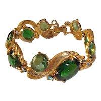 Genuine Signed Elsa Schiaparelli Bracelet Green Stones