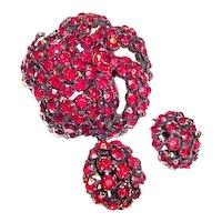 Signed Warner Brooch and Earrings Garnet Red Fall Winter