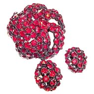 Genuine Warner Brooch and Earrings Red Rhinestones in Japanned Metal