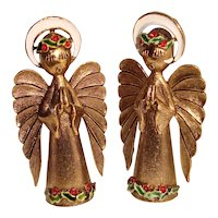 Signed ART Enameled Christmas Angel Brooches Praying