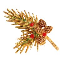 Signed ART Enameled Pine Branch Bough Brooch Pinecones
