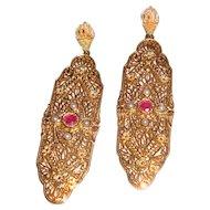 Filigree Dangle Earrings Ruby Stone Wedding