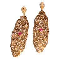 Victorian Style Filigree Dangle Earrings Ruby Seed Beads Wedding
