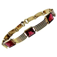 Simmons Art Deco Bracelet Gold Filled Red Stones