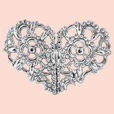 Victorian Stamped Steel Heart Closure Sash Cloak Cape Wedding