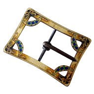 Edwardian Guilloche Enamel Sterling Silver Sash Buckle Crescent Moons Bows Yellow Blue Green Black Flowers Bows