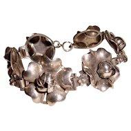 Antique Sterling Silver Bracelet Wedding Blooming Flowers