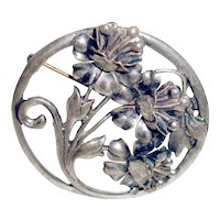 Art Deco Brooch Sterling Silver Flowers Wedding
