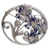 Art Deco Sterling Silver Brooch Flowers Wedding