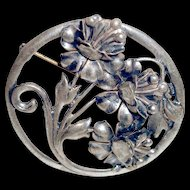 Art Deco Sterling Silver Brooch Flowers
