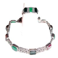 Sterling Silver Bracelet Ring Set Gems Marcasites