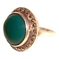 Green Onyx Sterling Silver Ring Marcasite Halo 925