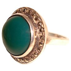Sterling Silver Ring Green Onyx Marcasite Halo 925