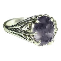 Natural Iolite Ring Sterling Silver Filigree