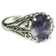 Natural Iolite Sterling Silver Filigree Ring