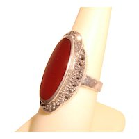 Carnelian Sterling Silver Ring Marcasites