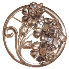 Big Sterling Silver Brooch Stylized Floral Design