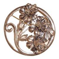 Sterling Silver Trumpet Flower Brooch Antique