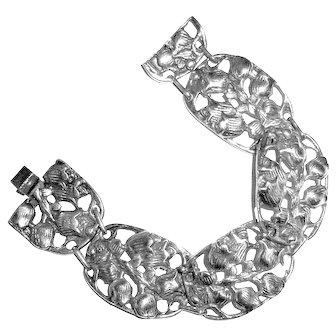 Antique Bracelet Sterling Silver Tulips Wedding