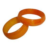 Art Deco Bakelite Bangle Bracelets Orange Yellow Swirled