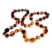Antique Tiger Eye Necklace 1900s Asian Import