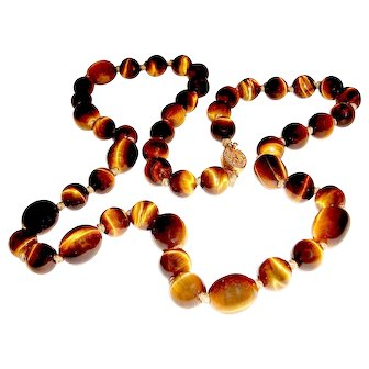 Antique Tiger Eye Necklace 1900s Chinese Import