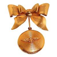 USN Aviator Locket Gold Filled WWII Military Sweetheart Pendant Watch Pin