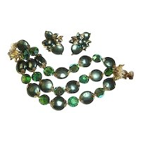 Vendome Bracelet Earrings Green Coin Beads Teal Crystals Wedding
