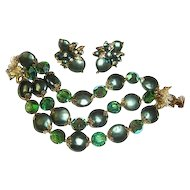 Vendome Bracelet Earrings Set Green Coin Beads Crystals Wedding
