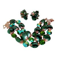 Signed Vendome Bracelet Earrings Green Coin Beads Teal Crystals