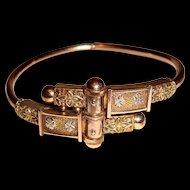 Victorian Etruscan Revival Gold Filled Clamper Bangle Bracelet
